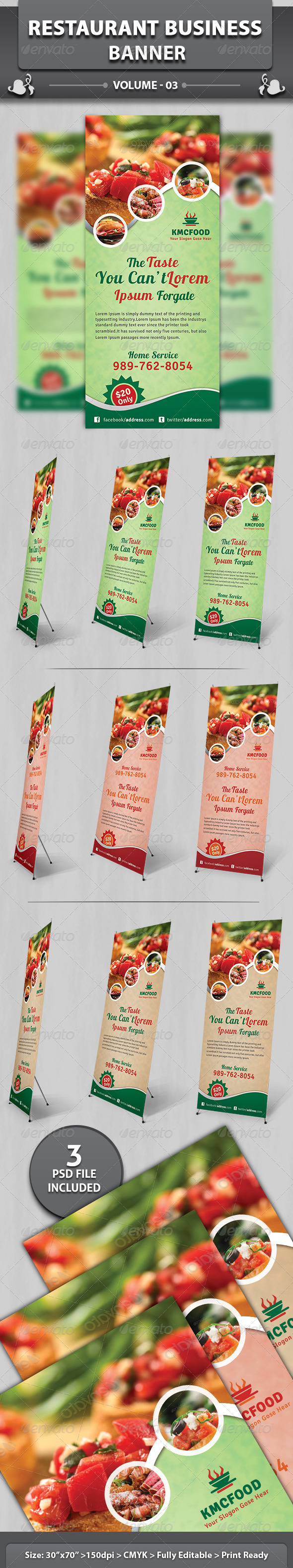 Restaurant Business Banner | Volume 3 - Signage Print Templates