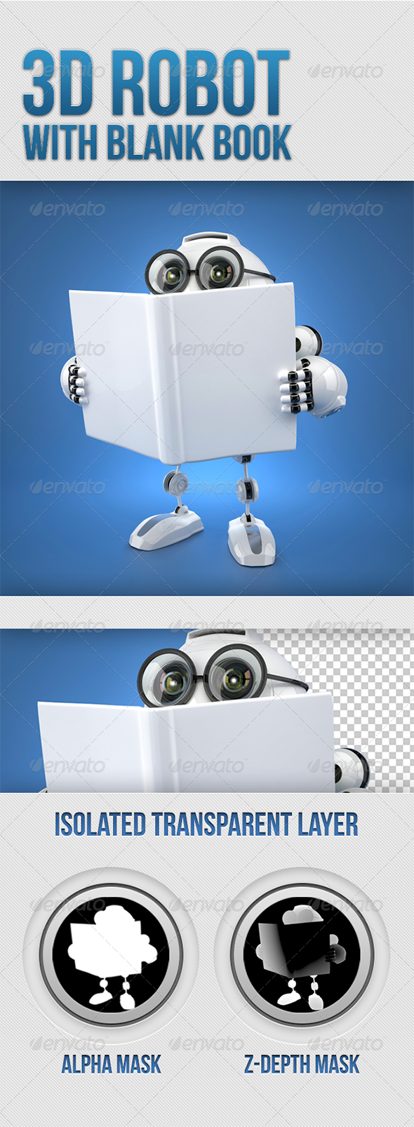 GraphicRiver 3D Robot reading a book with blank cover 5282940