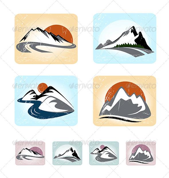 GraphicRiver Mountains Emblem Set 5282972