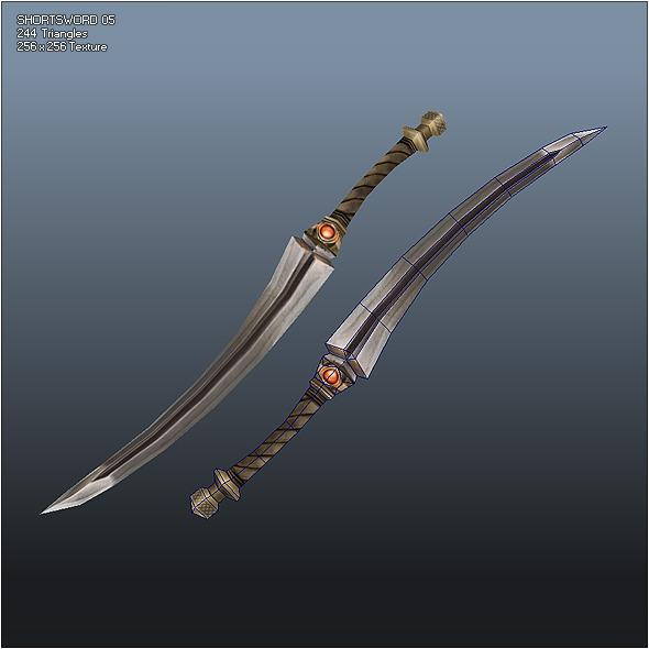 3DOcean Low Poly Simple Short Sword 05 543620
