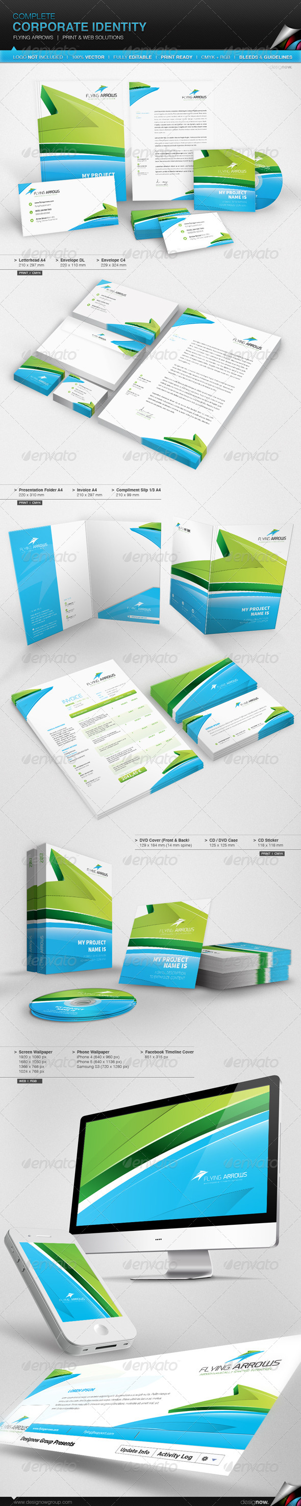 GraphicRiver Corporate Identity Flying Arrows 5283375