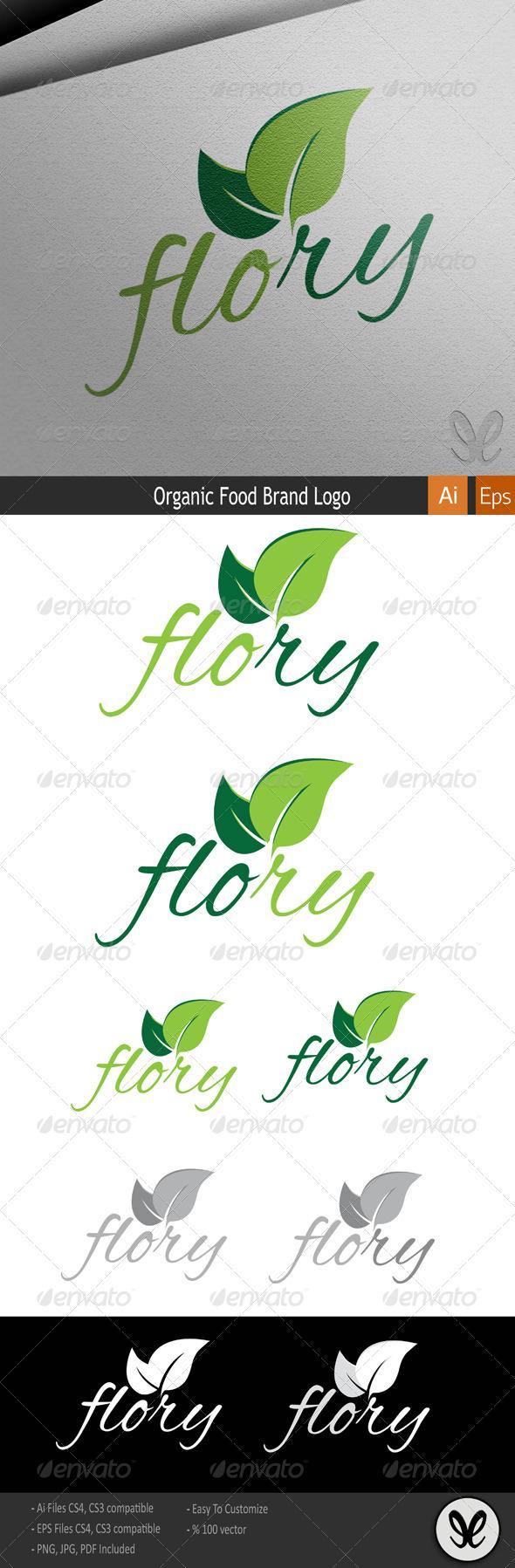 Flory Organic Food Logo - Food Logo Templates