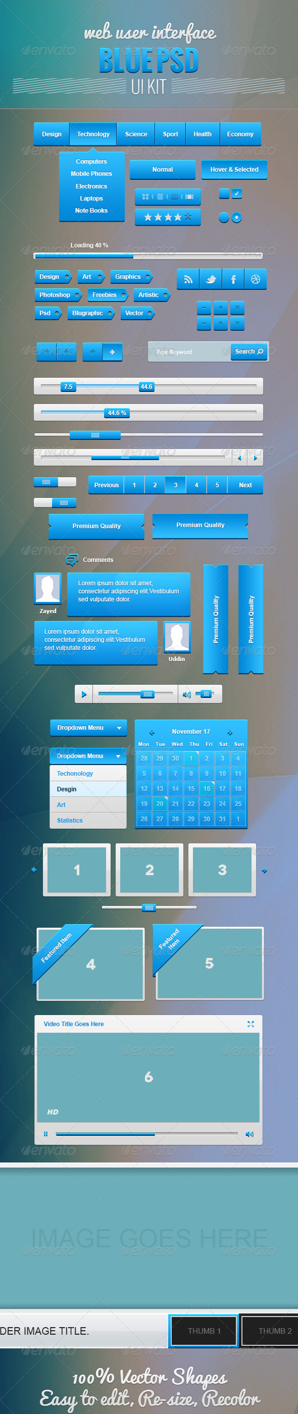 GraphicRiver Blue Web UI Kit 5283838
