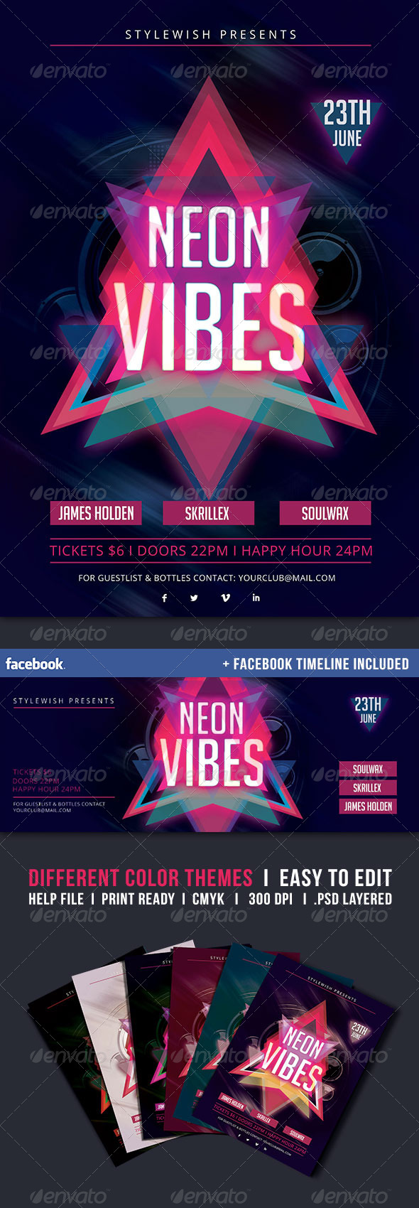 GraphicRiver Neon Vibes Flyer & Fb Timeline 5285076