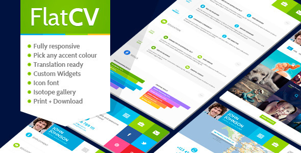ThemeForest FlatCV Resume  Portfolio  WordPress 5285379