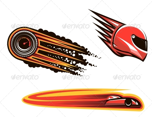 Racing Sport Elements and Icons - Sports/Activity Conceptual