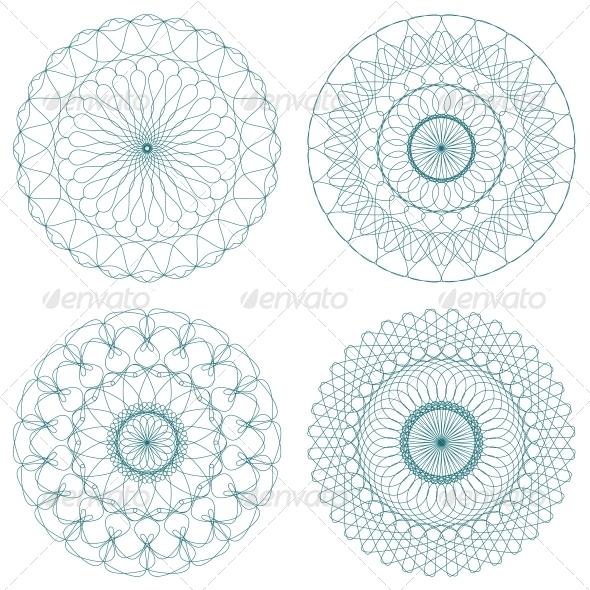 GraphicRiver Set of Green Vector Guilloche Rosettes 5285615