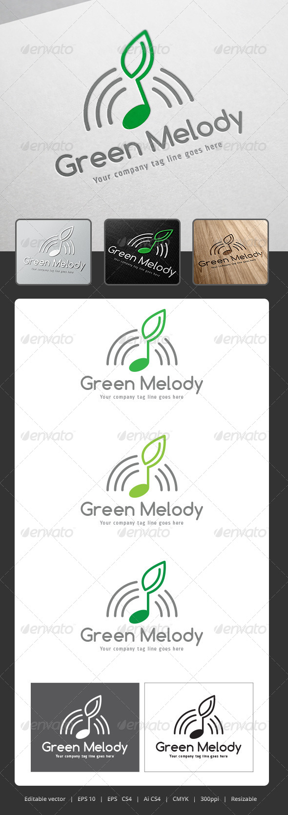 GraphicRiver Green Melody Logo 5285620