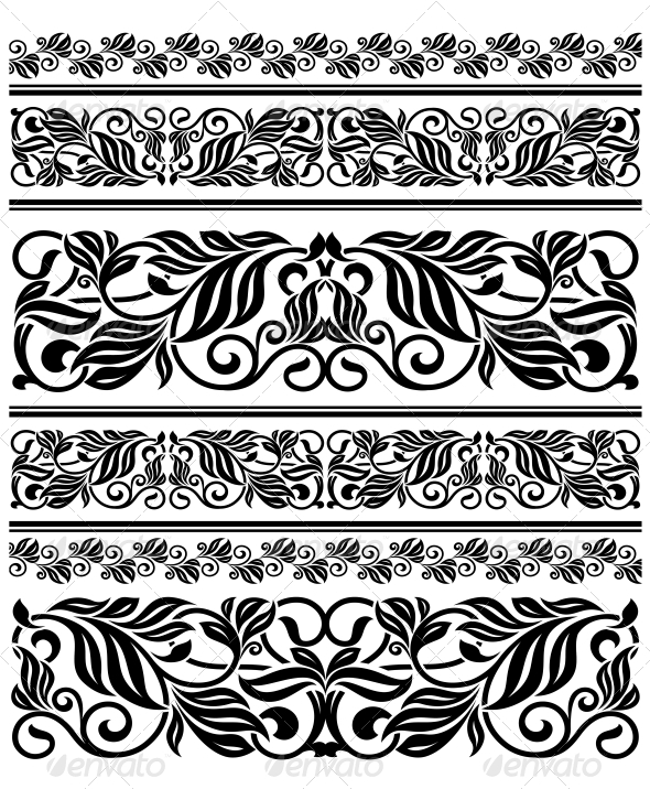 Floral Ornament Elements and Embellishments - Flourishes / Swirls Decorative