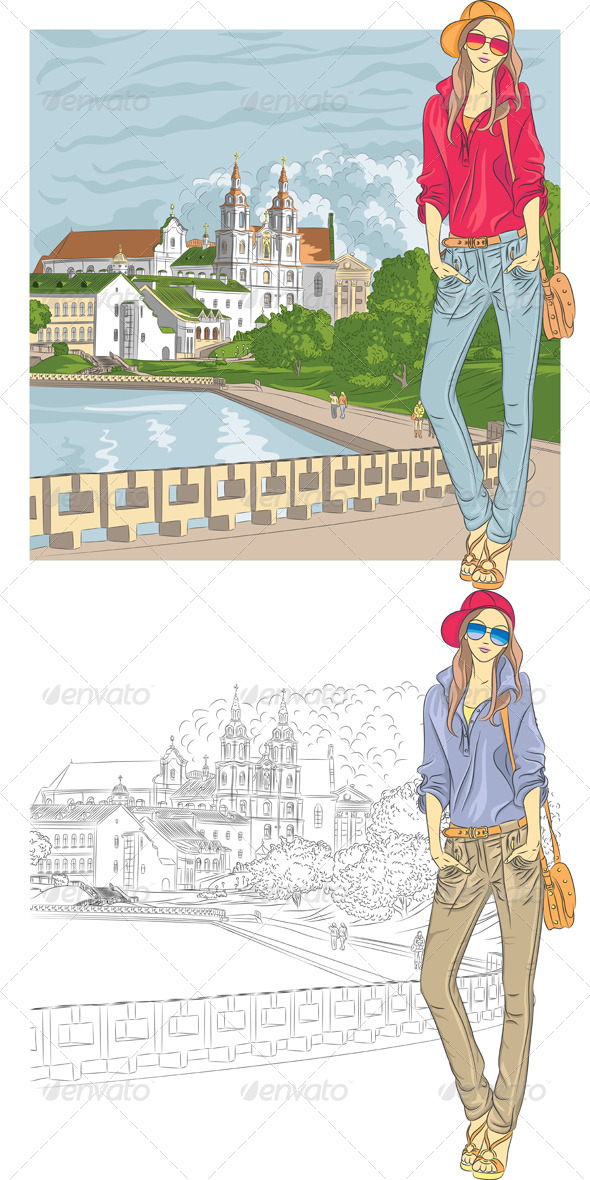 Vector Sketch of a Fashion Girl in the Old City - People Characters