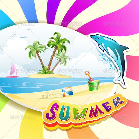 GraphicRiver Summer Beach with Palm Trees 5286133