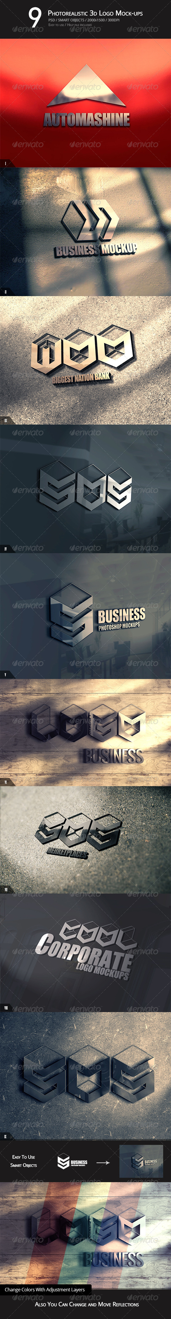 GraphicRiver 9 Photorealistic 3D Logo Mock-ups 5286185