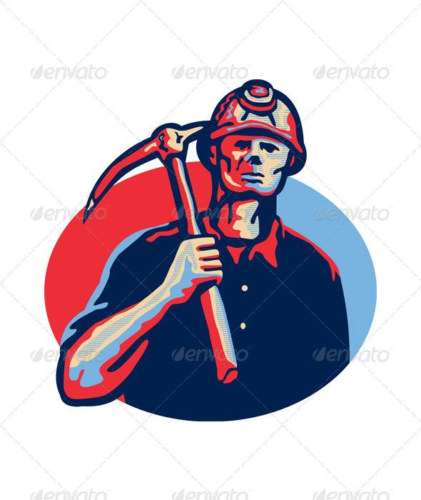 GraphicRiver Coal Miner Pick Axe Retro 5286197