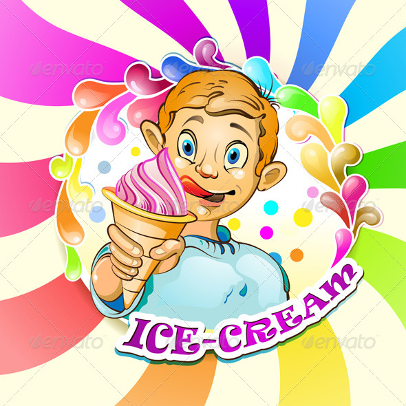 GraphicRiver Cartoon Little Boy with Ice Cream 5286200