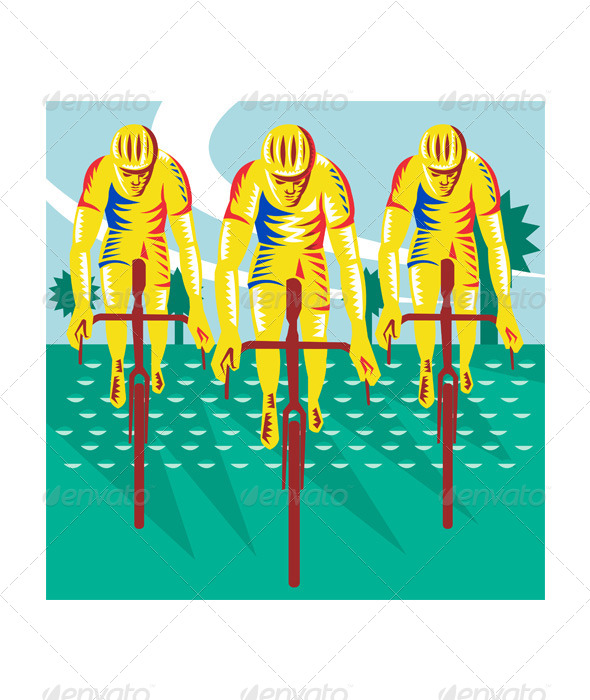 GraphicRiver Cyclist Riding Bicycle Cycling Retro 5286201