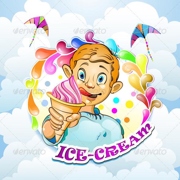 Cartoon Little Boy with Ice Cream