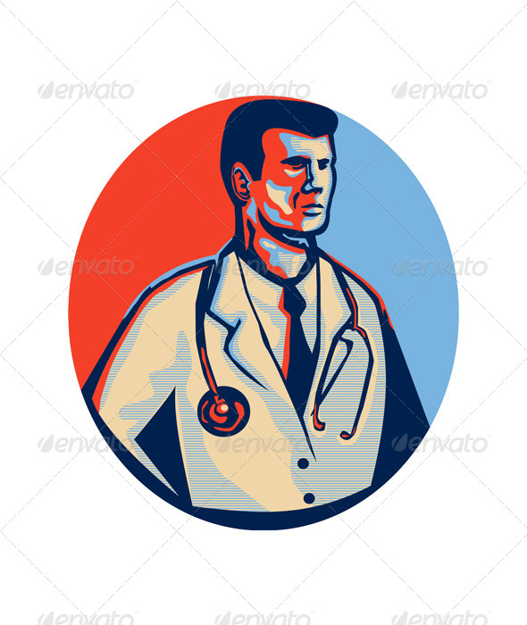 GraphicRiver Doctor Stethoscope Standing Retro 5286207