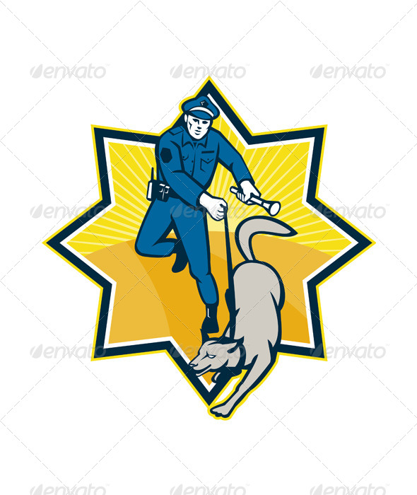 GraphicRiver Policeman Police Dog Canine Team 5286244
