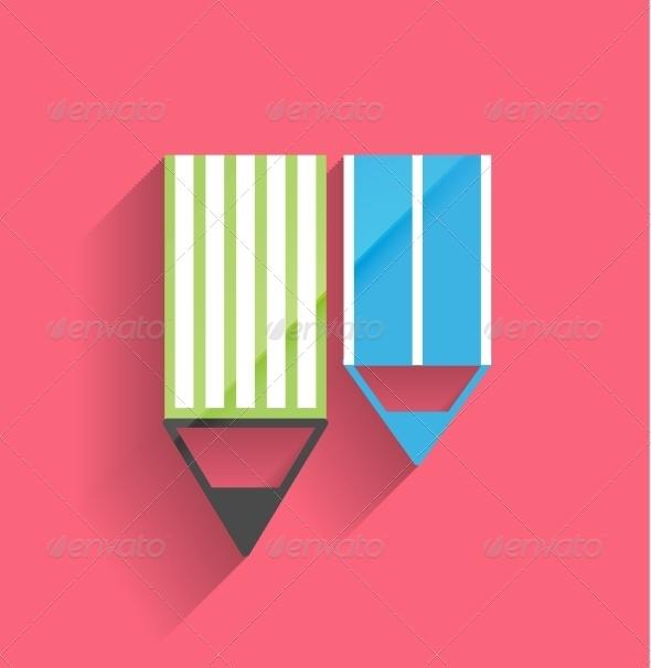 GraphicRiver Pencil Vector Icon Flat Design 5286549