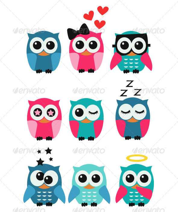 GraphicRiver Owls Set 5286858