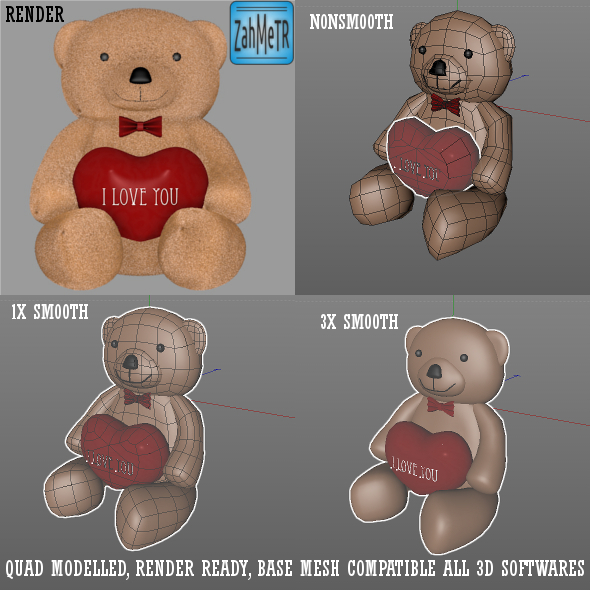 3DOcean Teddy Bear and Heart Quad Base Mesh 5287438