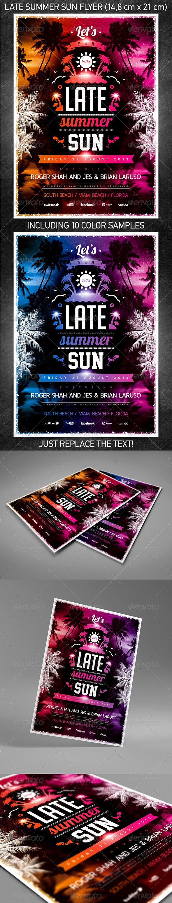 GraphicRiver Late Summer Sun Party Flyer 5287562