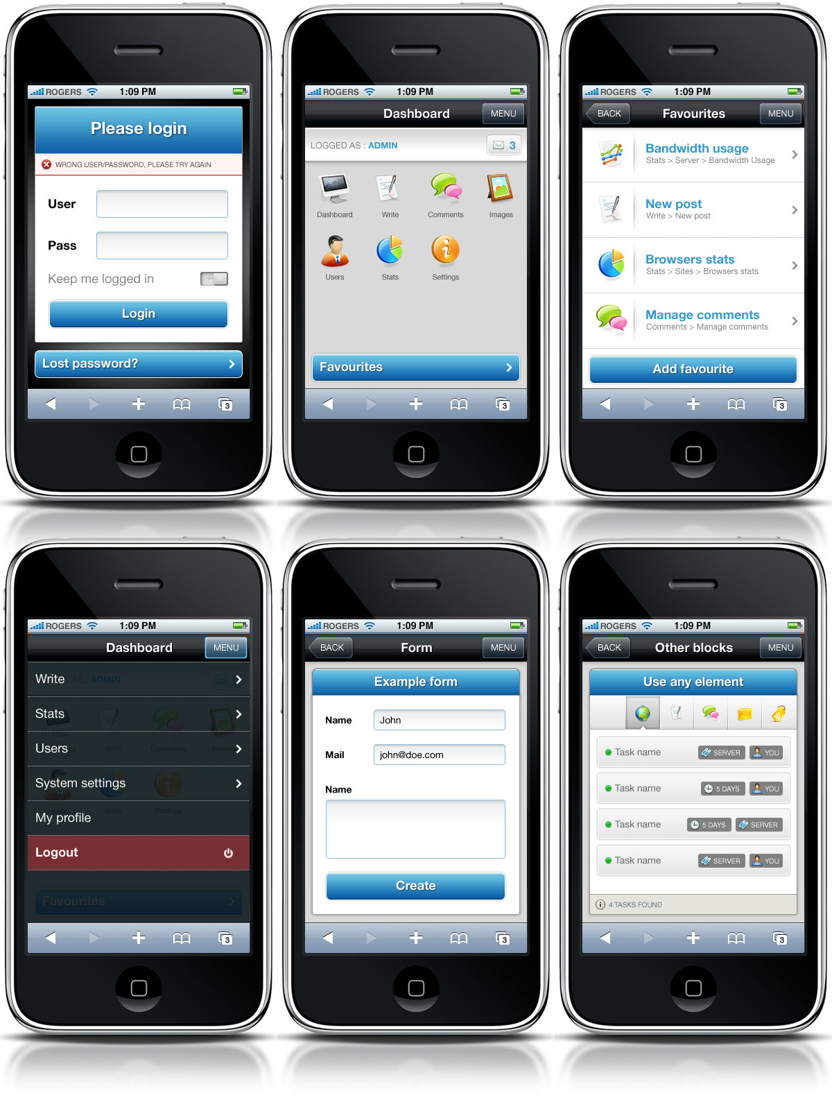 Constellation complete admin skin - Mobile version of the template