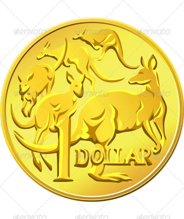 Vector Australian Money gold Dollar with the imag
