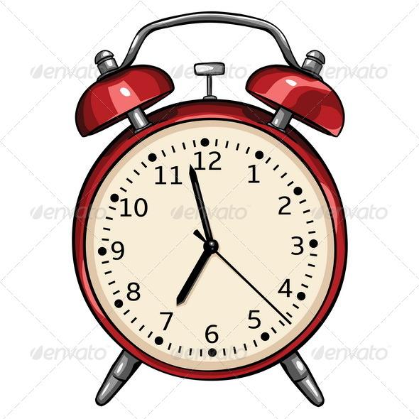 Vector Red Alarm Clock