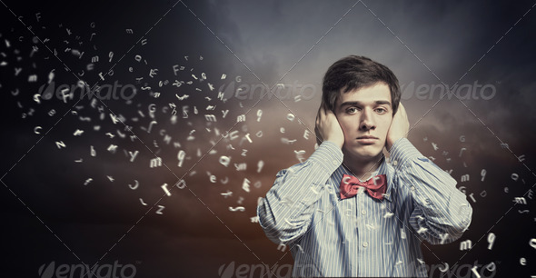 Handsome deaf businessman - Stock Photo - Images