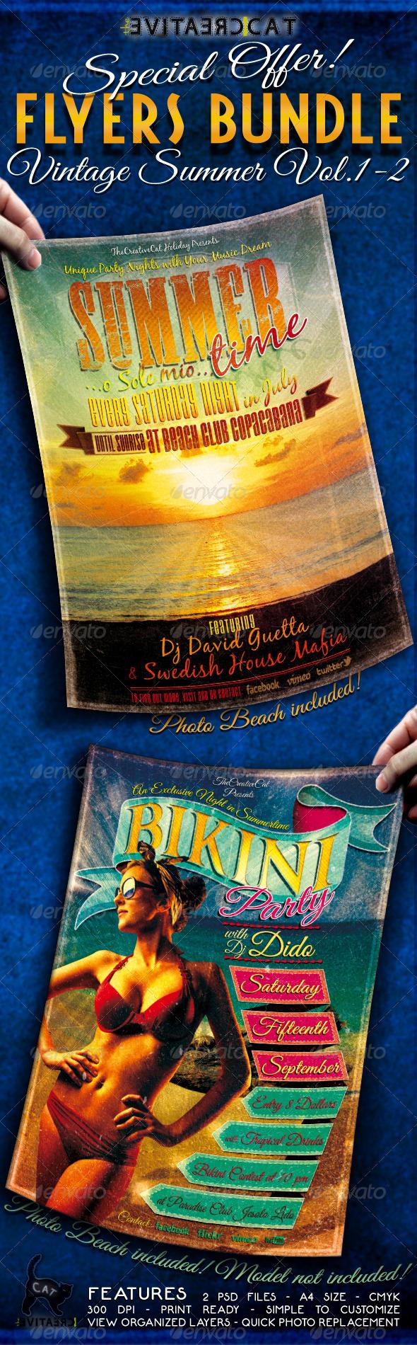 GraphicRiver Vintage Summer Flyer Poster Bundle Vol 1-2 5288038