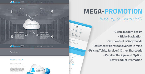 ThemeForest Mega Hosting Software Promotion PSD 5214289
