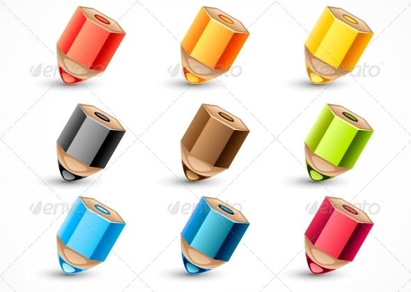 GraphicRiver Nine Colored Pencils 5289440