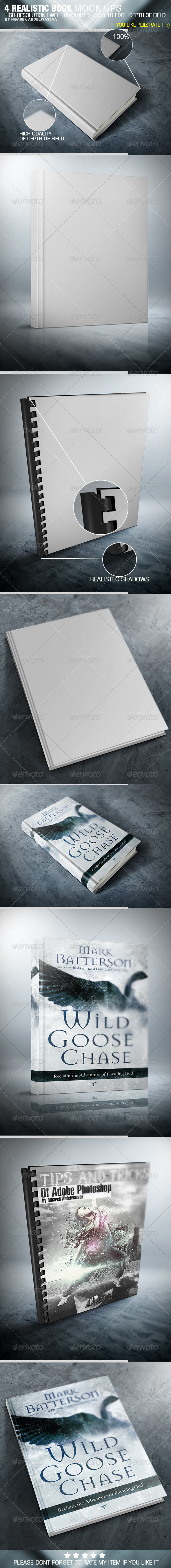 GraphicRiver 4 Realistic Book Cover Mock Ups 5254703