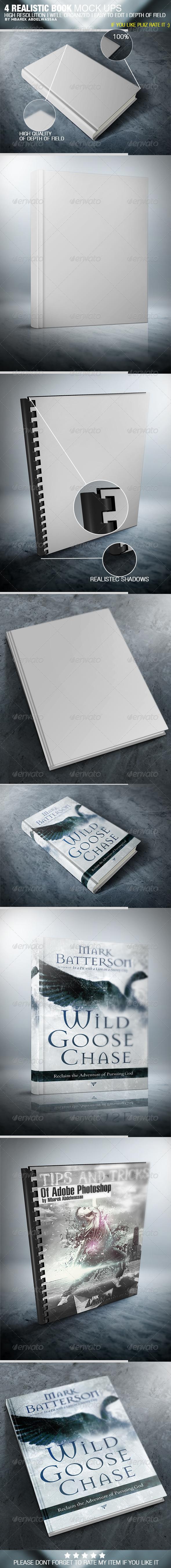 4 Realistic Book Cover Mock Ups
