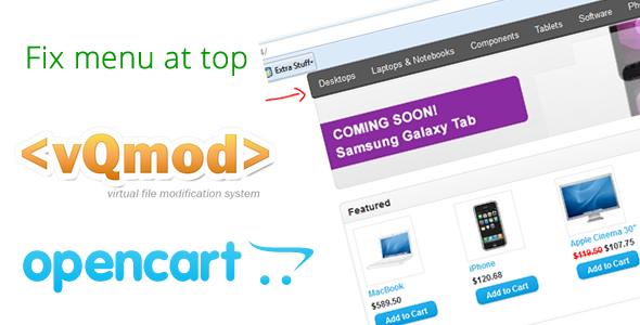 CodeCanyon Opencart fix menu bar to top Vqmod 5291206