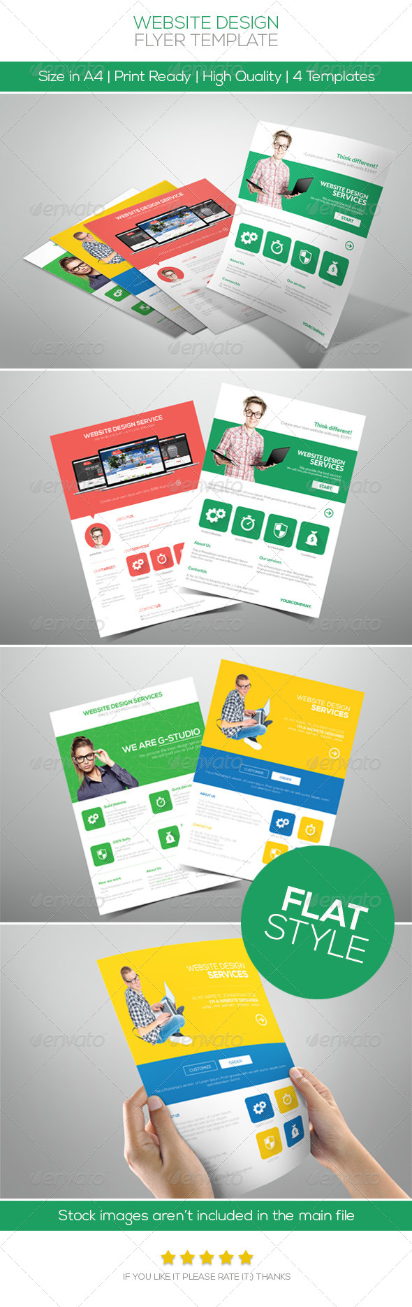Flat Website Design Flyer - Commerce Flyers
