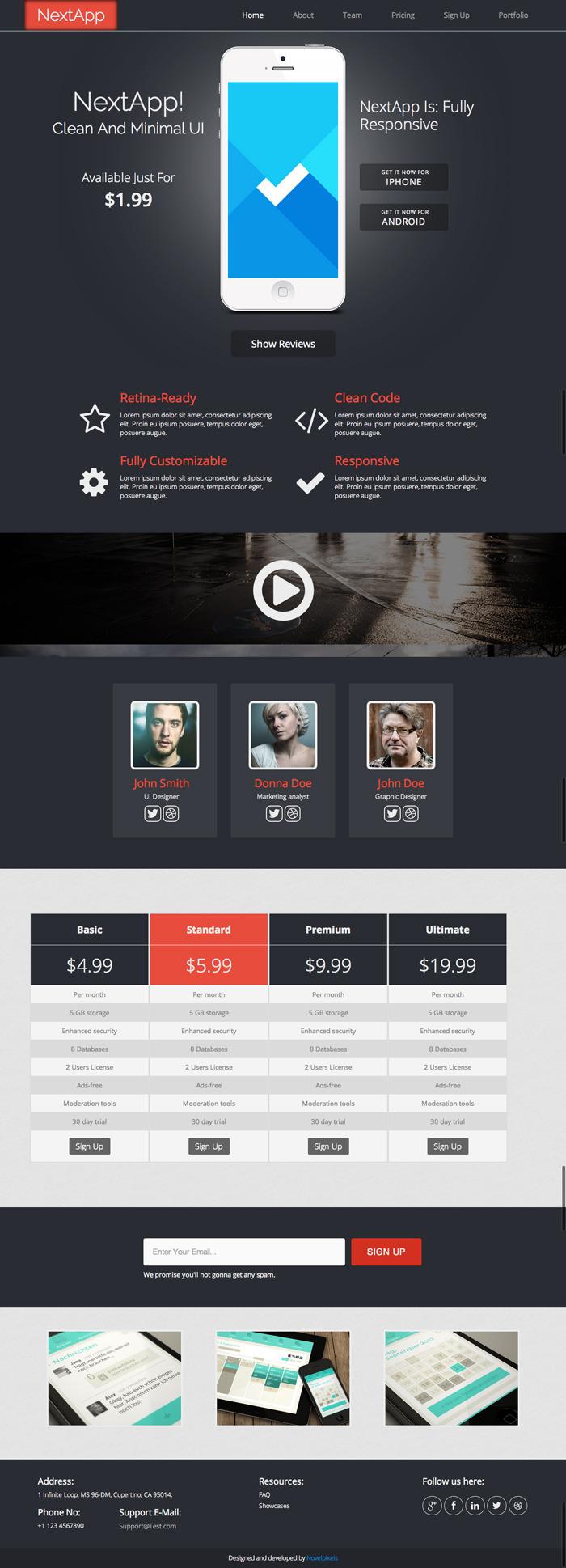 NextApp - Responsive, Retina Ready Landing Page