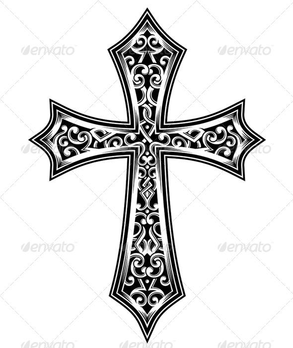 GraphicRiver Ornate Christian Cross Vector 5291784