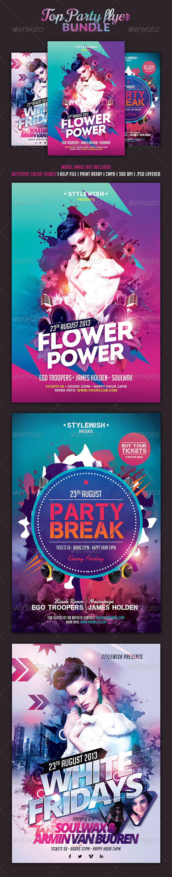 Top Party Flyer Bundle - Clubs & Parties Events