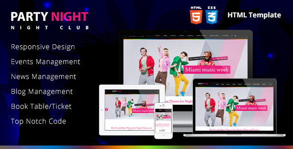 Image of Party Night - Night Club HTML Template