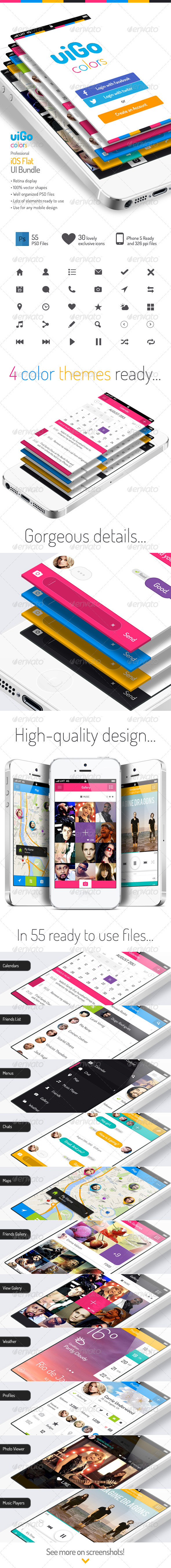 GraphicRiver uiGo Colors iOS Flat UI Bundle 5291876