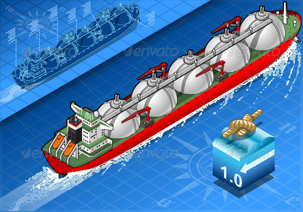 GraphicRiver Isometric Gas Tanker Ship in Navigation Rear View 5291924