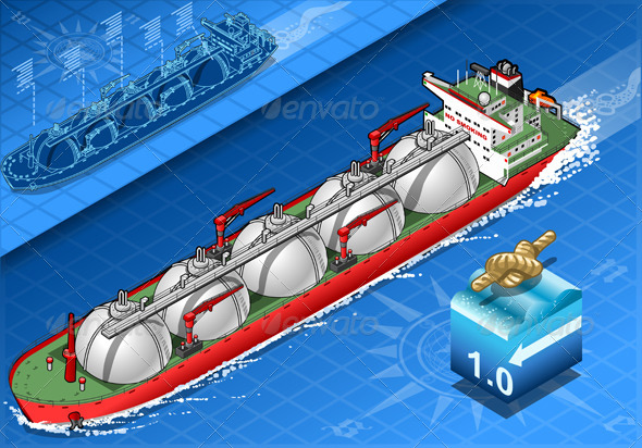 GraphicRiver Isometric Gas Tanker Ship in Navigation Front View 5291925