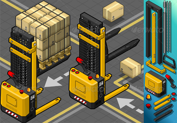 GraphicRiver Isometric Forklift in Two Positions in Rear View 5292024