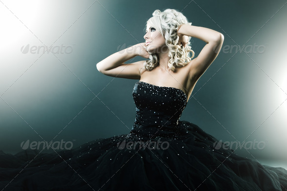 High fashion woman in sexy pose - Stock Photo - Images