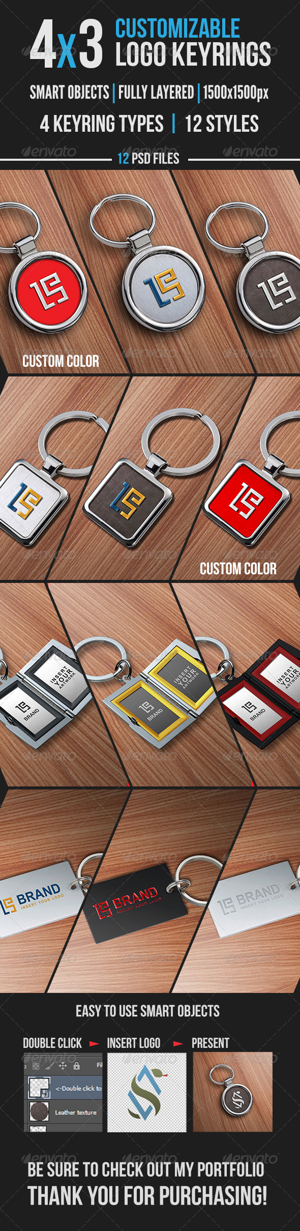 4x3 Logo key ring mockups - Product Mock-Ups Graphics
