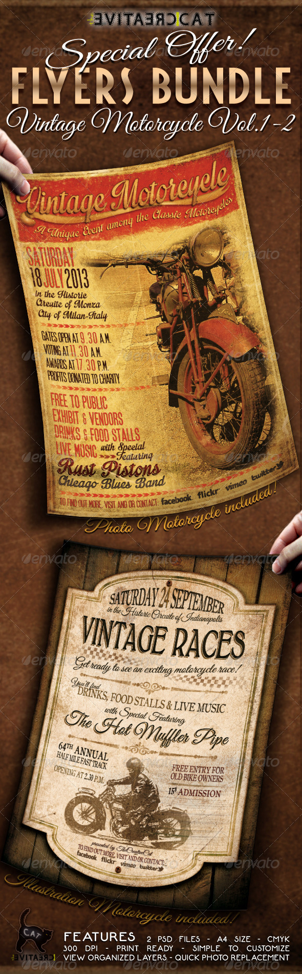 GraphicRiver Vintage Motorcycle Flyer Poster Bundle Vol 1-2 5292417
