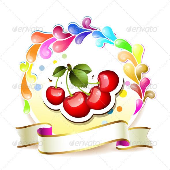 GraphicRiver Ripe Cherry Over 5292577