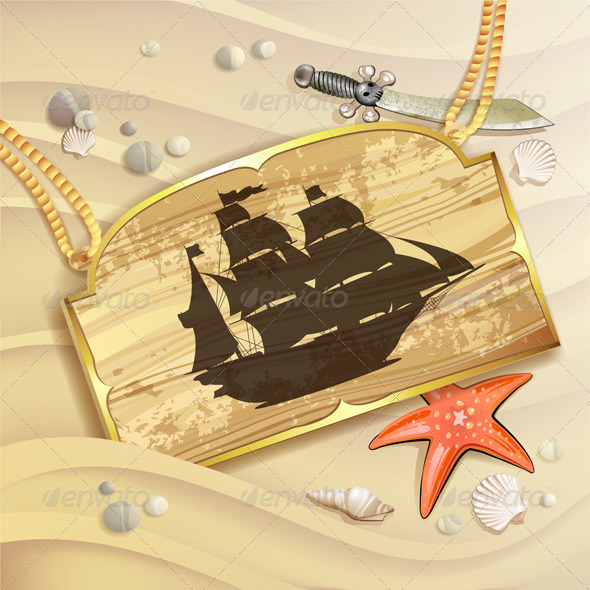 GraphicRiver Wood Banner with Pirate Ship 5292660